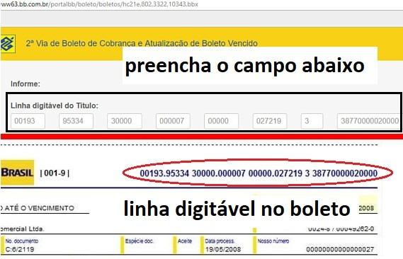 atualizar boleto banco do brasil linha digitavel