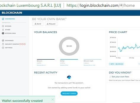 carteira bitcoin criada com sucesso