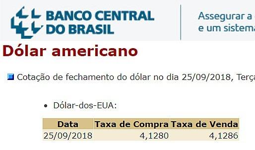 dolar hoje banco central