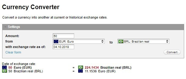 conversor de moeda euro real